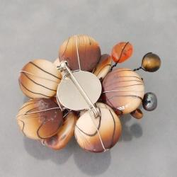 Steel Brown Mother of Pearl and Pearl Zebra Floral Brooch (3-9 mm)(Thailand)
