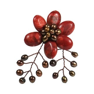 Handmade Red Coral and Pearl Floral Brooch (4-9 mm)(Thailand)