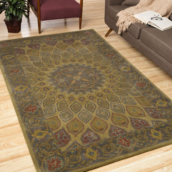 EORC Hand-tufted Wool Gold Gombad Rug
