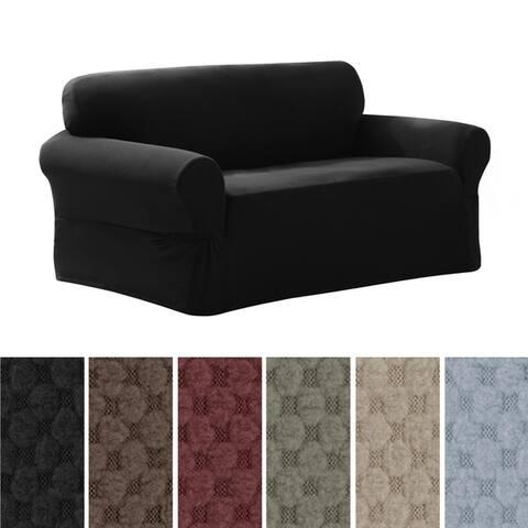 "Maytex Stretch Pixel 1 Piece Loveseat Furniture / Slipcover - 34""h x 38""d x 58-73""w"