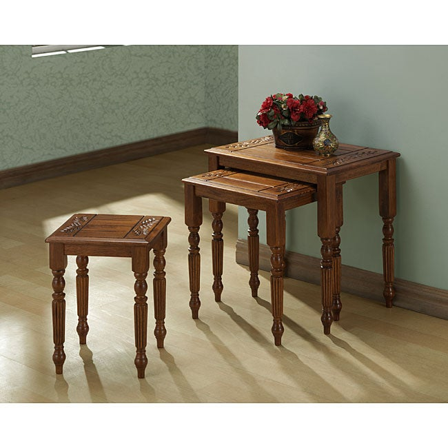 Dark Oak 3-piece Nesting Tables Set