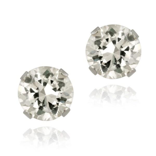 Glitzy Rocks Sterling Silver 2 1/10ct TGW 6mm White Topaz Stud Earrings