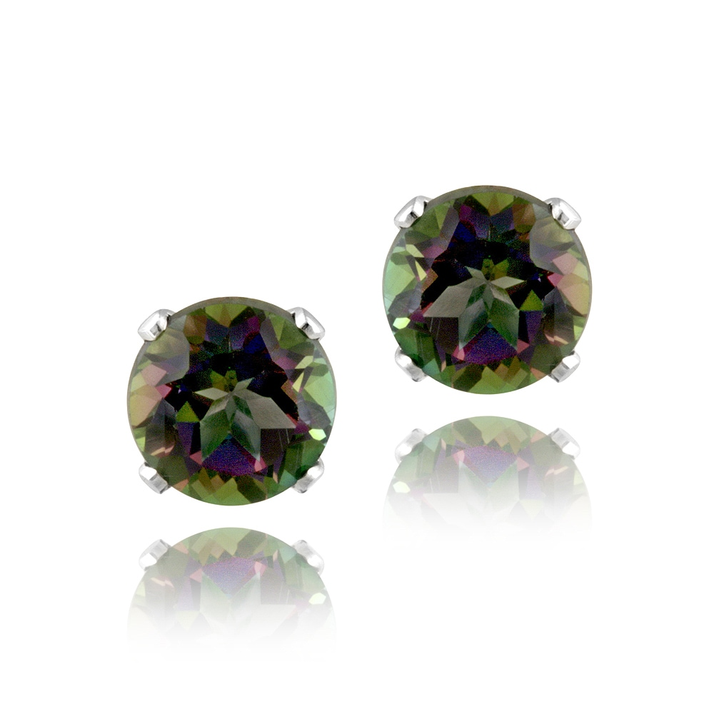 Glitzy Rocks Sterling Silver 2 1/10ct TGW 6mm Green Mystic Topaz Stud Earrings