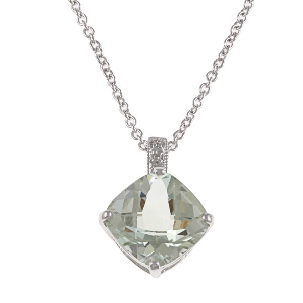 Kabella Sterling Silver Cushion-cut Green Amethyst and Diamond Necklace