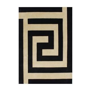 Alliyah Rugs Handmade Black/ Beige New Zealand Blend Wool Area Rug (5' x 8')