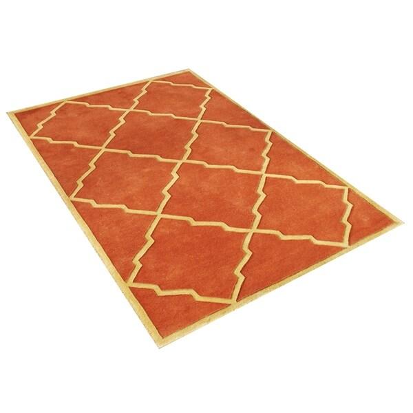 Alliyah Handmade Rust New Zealand Blend Wool Rug (5' x 8') - 5' x 8'