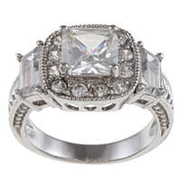 Silvertone Clear Cubic Zirconia Engagement-style Ring