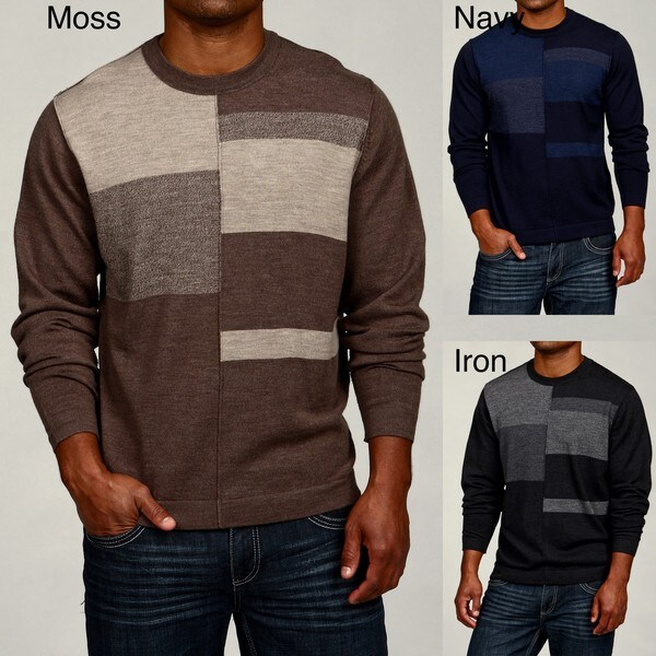 Oggi Moda Men's Colorblock Merino Wool Crewneck Sweater