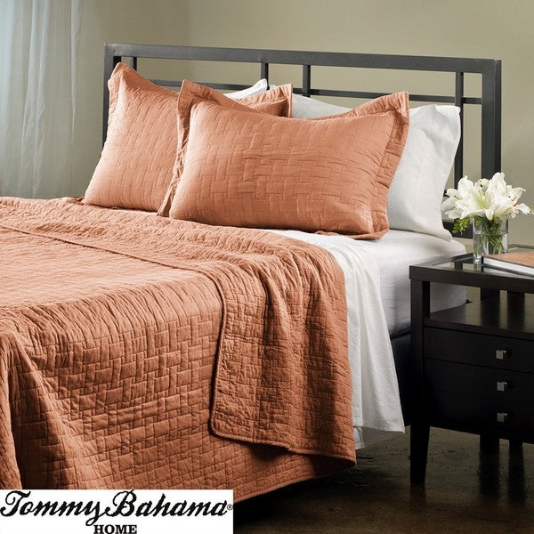 Shop Tommy Bahama Solid Coral Full Queen Size 3 Piece