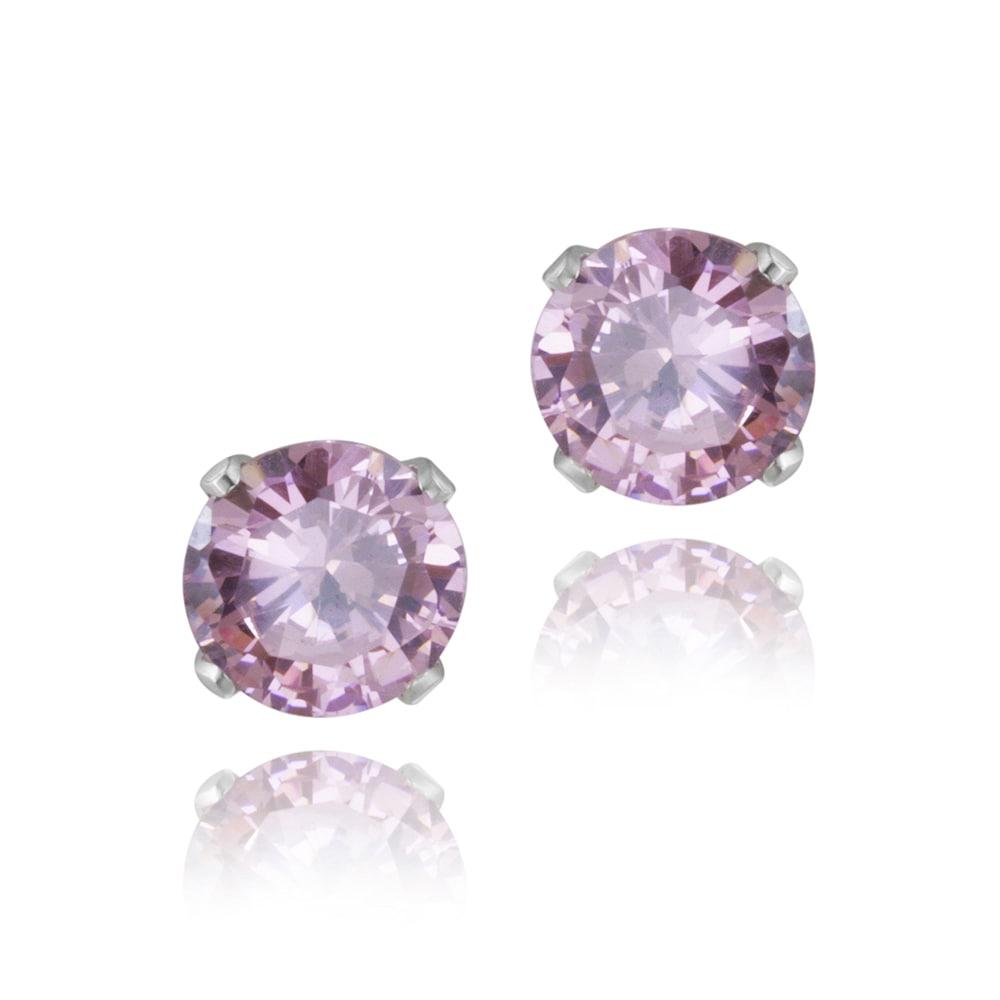Glitzy Rocks Sterling Silver 2 1/10ct TGW 6mm Pink Topaz Stud Earrings