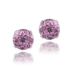 Glitzy Rocks Sterling Silver 3 1/5ct TGW 7mm Pink Topaz Stud Earrings