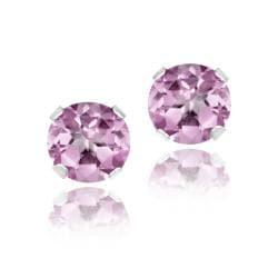 Glitzy Rocks Sterling Silver 1 1/6ct TGW 5mm Pink Topaz Stud Earrings