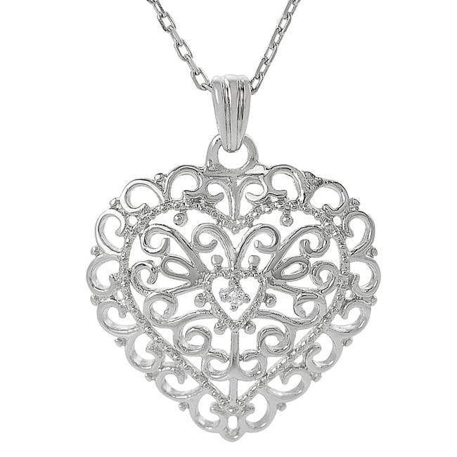 Journee Sterling Silver Cubic Zirconia Ornate Heart Necklace