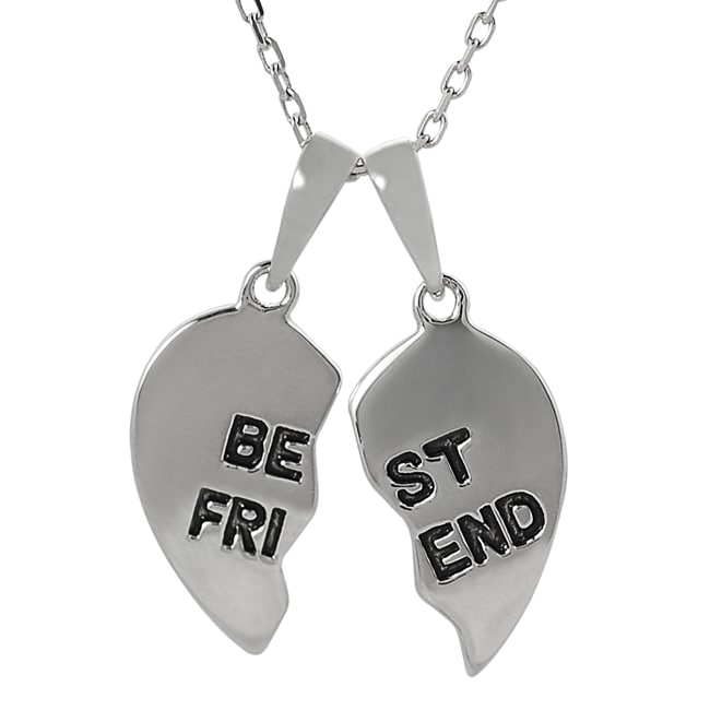 Journee Collection  Sterling Silver 'Best Friend' Heart Necklace