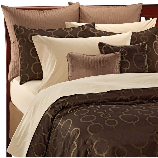 Chocolate/ Gold Art Deco Circle 12-piece Bed in a Bag with Sheet Set