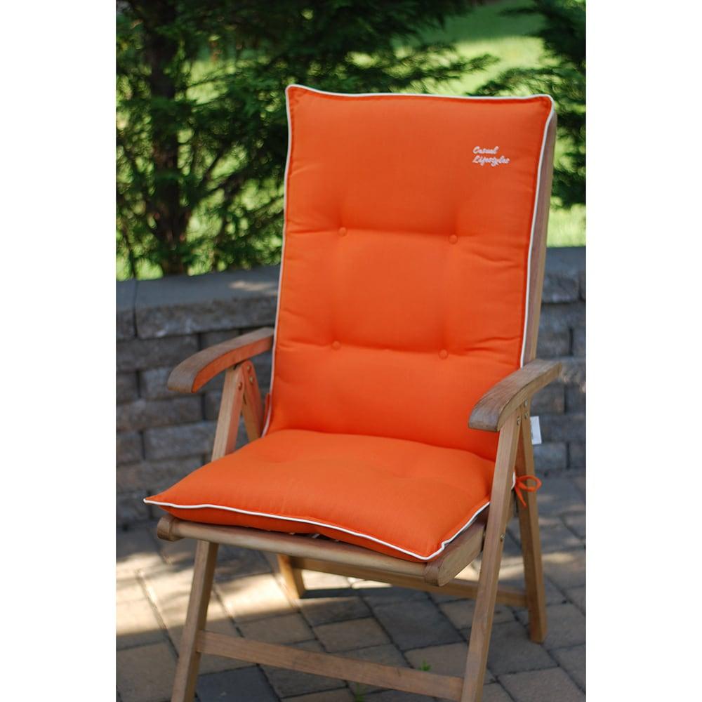 Orange With Beige High Back Patio Chair Cushions Set Of 2 Ebay