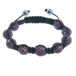 Eternally Haute Hematite and Purple Amethyst Crystal Eternity Macrame Bracelet