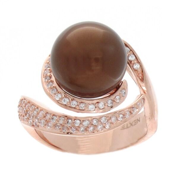 NEXTE Jewelry Rose Gold Overlay Cubic Zirconia Swirl Ring