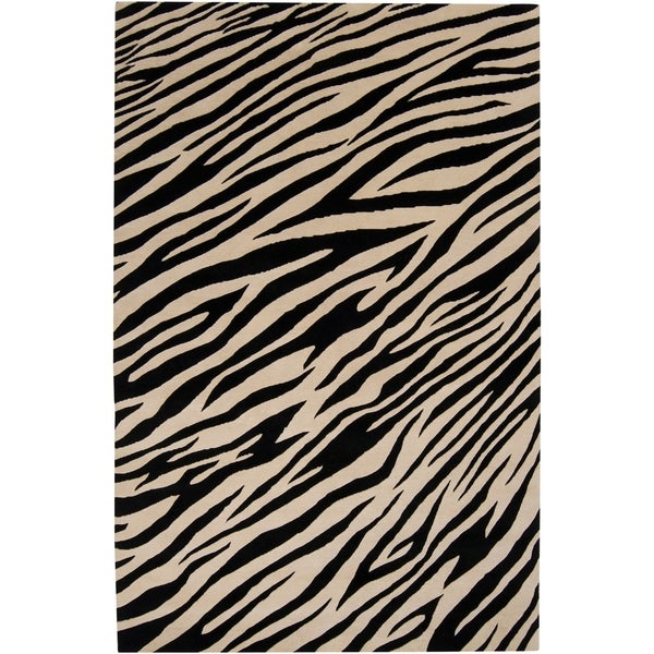 Hand-knotted Zebra Animal Print Augusta Semi-Worsted Wool Area Rug - 8'x11'