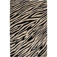 Hand-knotted Zebra Animal Print Augusta Semi-Worsted Wool Area Rug - 8' X 11'