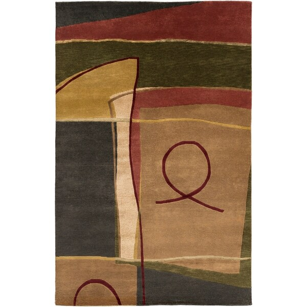 Hand-knotted Brown/Red Floral Contemporary Tacoma Semi-worsted New Zealand Wool Abstract Area Rug - 9' x 13'