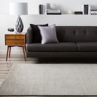 Hand-knotted Solid Grey Casual Yonkers Semi-Worsted Wool Area Rug - 5' x 8'
