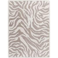Hand-tufted Beige/White Zebra Animal Print Hampton Wool Area Rug - 8' x 11'