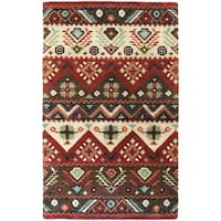 Hand-tufted Red Southwestern Aztec Henderson New Zealand Wool Area Rug - 5' x 8'