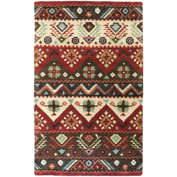 Hand-tufted Red Southwestern Aztec Henderson New Zealand Wool Area Rug - 9'x13'