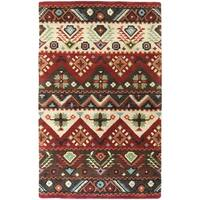 Hand-tufted Red Southwestern Aztec Henderson New Zealand Wool Area Rug - 9' x 13'