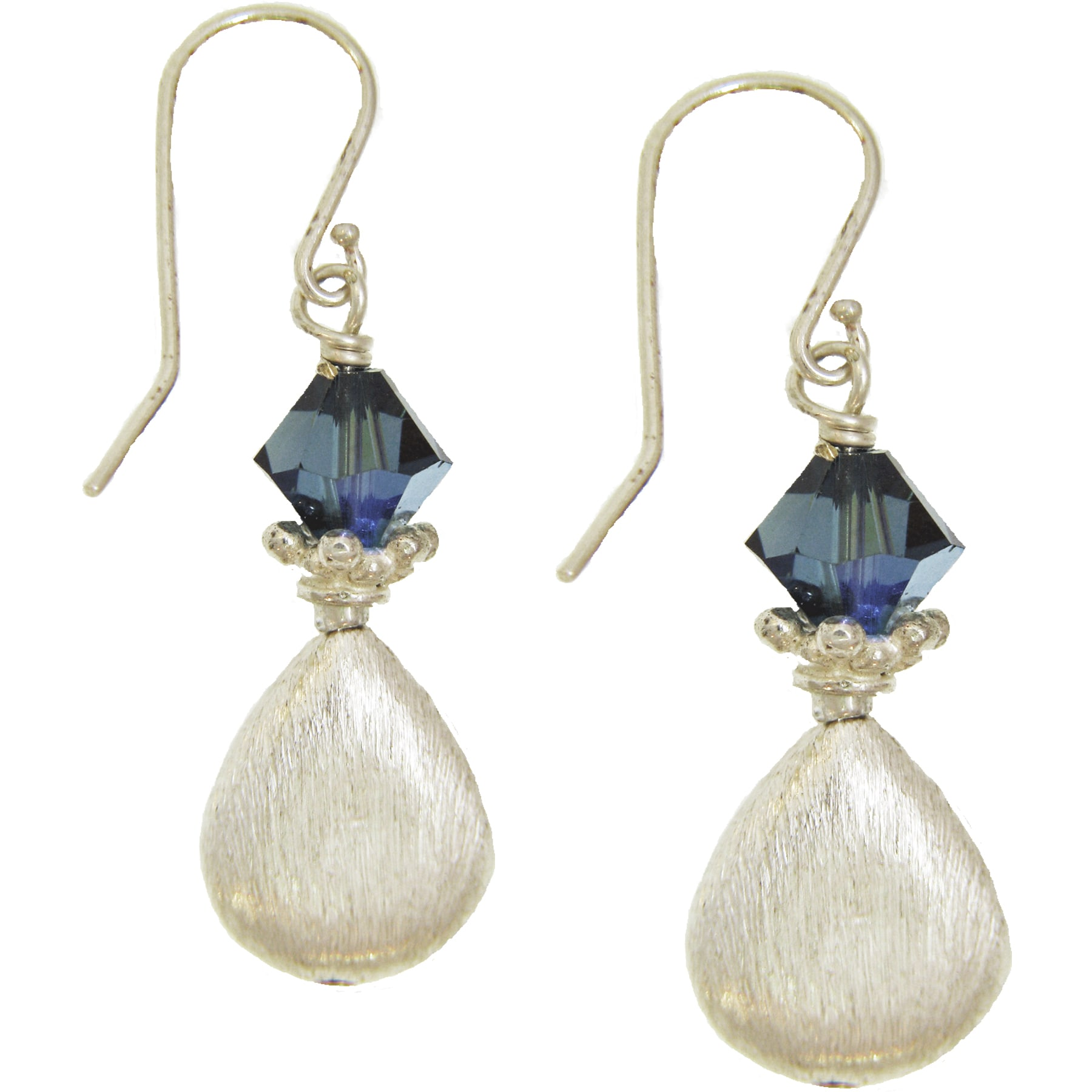 Misha Curtis Sterling Silver Blue Crystal Teardrop Earrings - Thumbnail 0