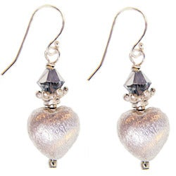Misha Curtis Sterling Silver Crystal Heart Earrings