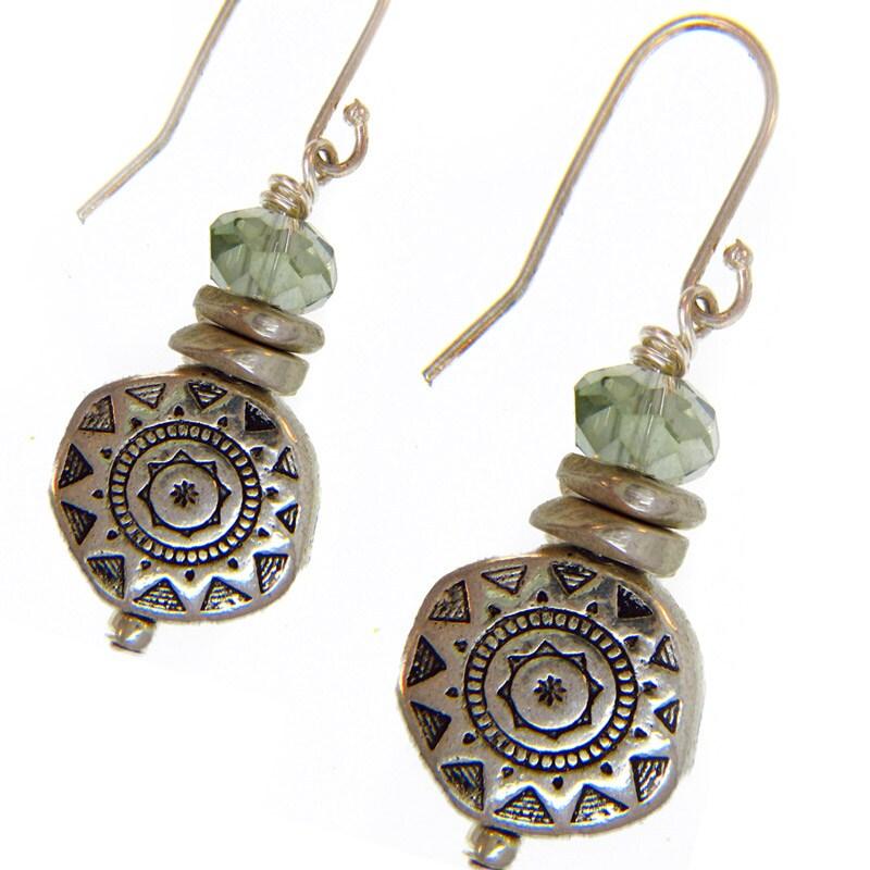 Misha Curtis Silver Green Crystal Sunburst Earrings