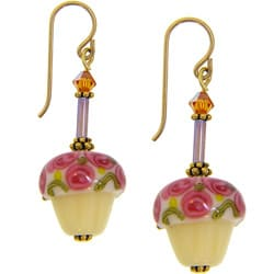 Misha Curtis Birthday Cupcake 14k Gold Glass Earrings