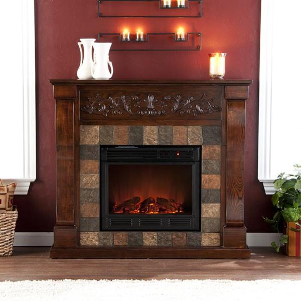 Moreland Espresso and Grey Faux Slate Electric Fireplace