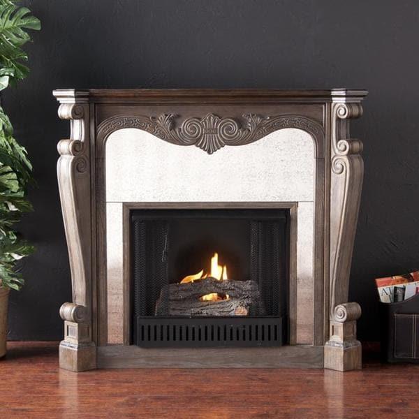 Alcott Burnt Oak and Gray Faux Slate Gel Fuel Fireplace