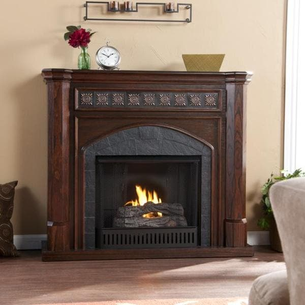 Calvin Espresso and Grey Faux Slate Gel Fuel Fireplace