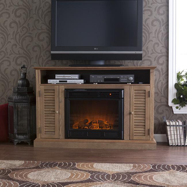 Herschel Weathered Oak Media Console Fireplace Free