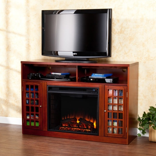 Harper Blvd Brannick Mahogany Media Console Fireplace