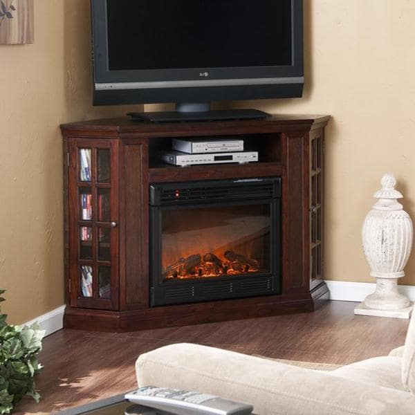 Brannick Espresso Convertible Media Console Fireplace
