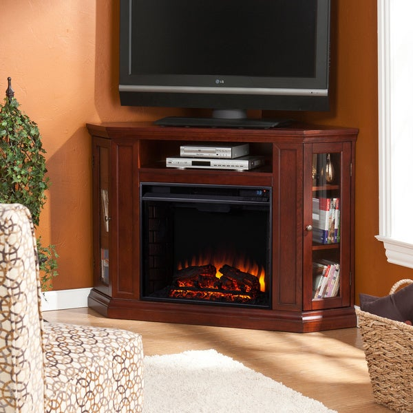 Harper Blvd Belvedere Cherry Media Console Fireplace