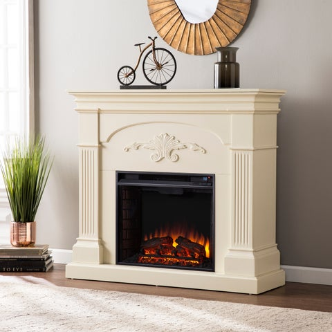 Gracewood Hollow Glancy Ivory Electric Fireplace