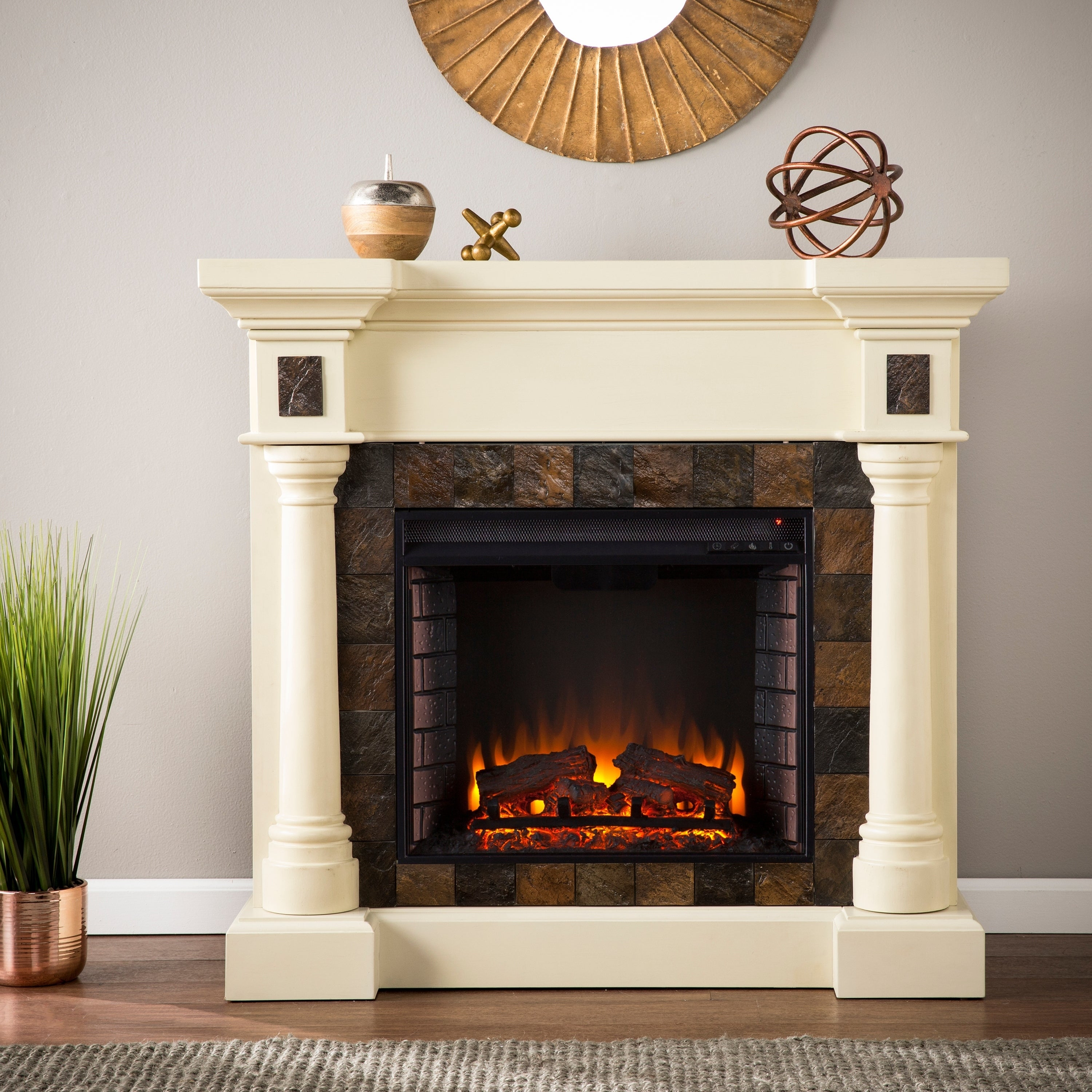 electric product stone home fireplace simulated garden harper store grissom blvd white infrared