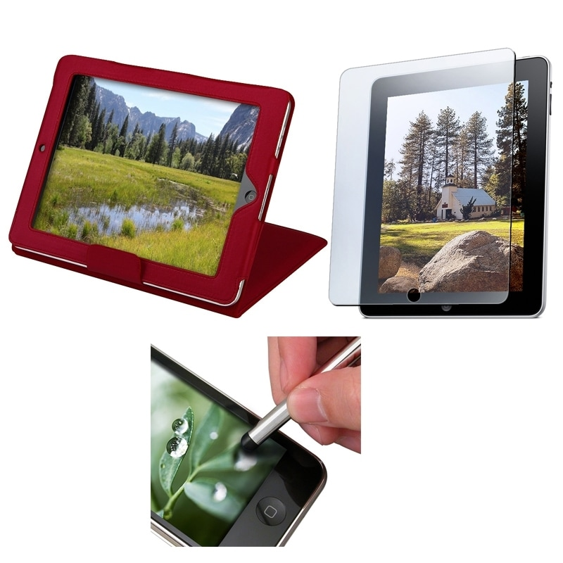 INSTEN Red Leather Tablet Case Cover/ Screen Protector/ Stylus for Apple iPad