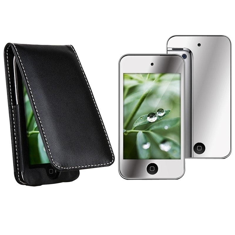 INSTEN Leather iPod Case Cover/ Mirror Screen Protector for Apple iPod Touch 4th Gen - Thumbnail 0