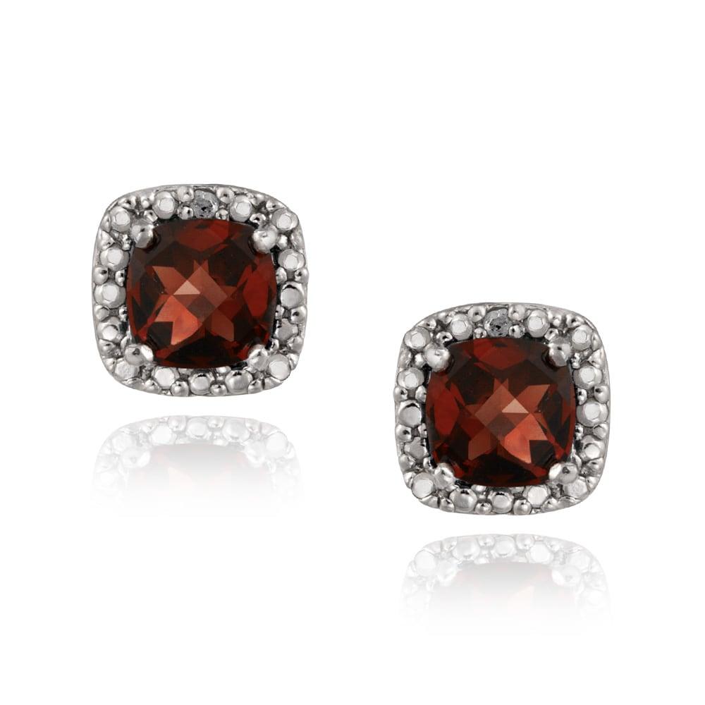 Glitzy Rocks Sterling Silver Cushion-cut Garnet Stud Earrings