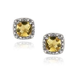 Glitzy Rocks Sterling Silver Cushion-cut Citrine Stud Earrings