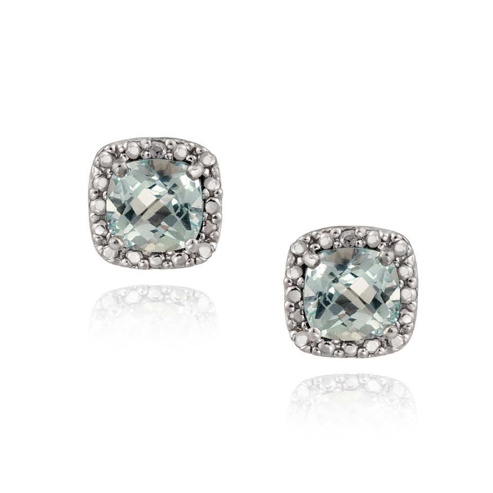 Glitzy Rocks Sterling Silver Cushion-cut Blue Topaz Stud Earrings