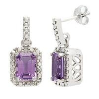 Glitzy Rocks Sterling Silver Amethyst and Diamond Accent Earrings