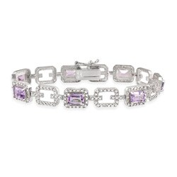 Glitzy Rocks Sterling Silver 7 CTW Amethyst and Diamond Accent Link Bracelet